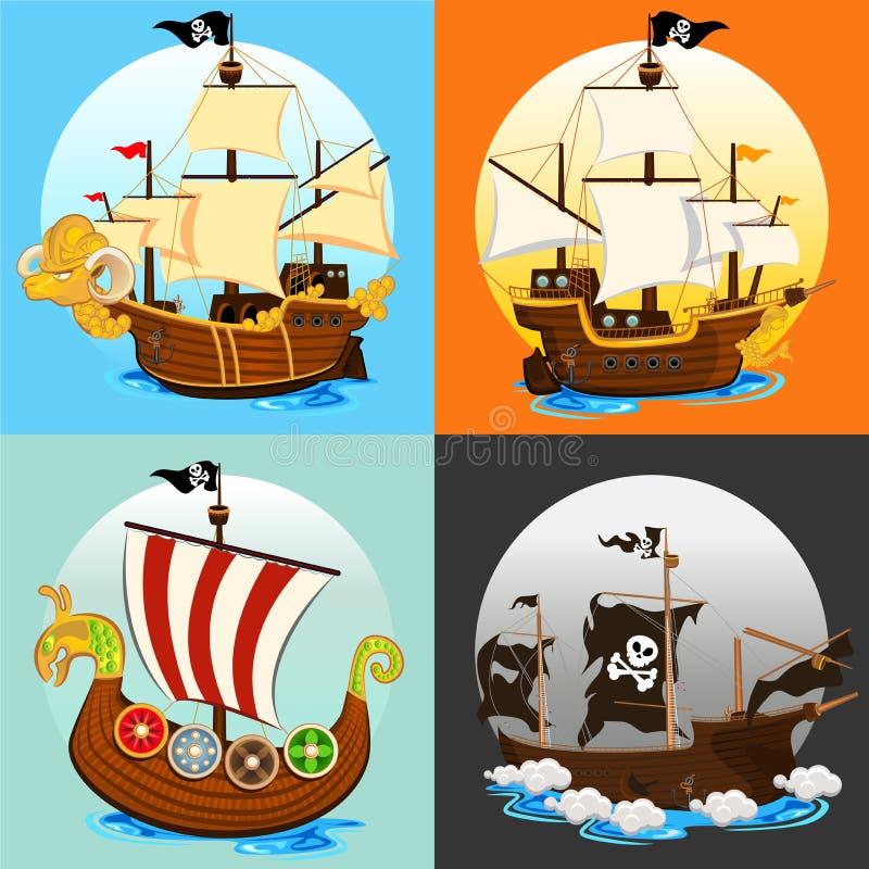 Σύνολο συλλογής σκαφών πειρατών ελεύθερη απεικόνιση δικαιώματος