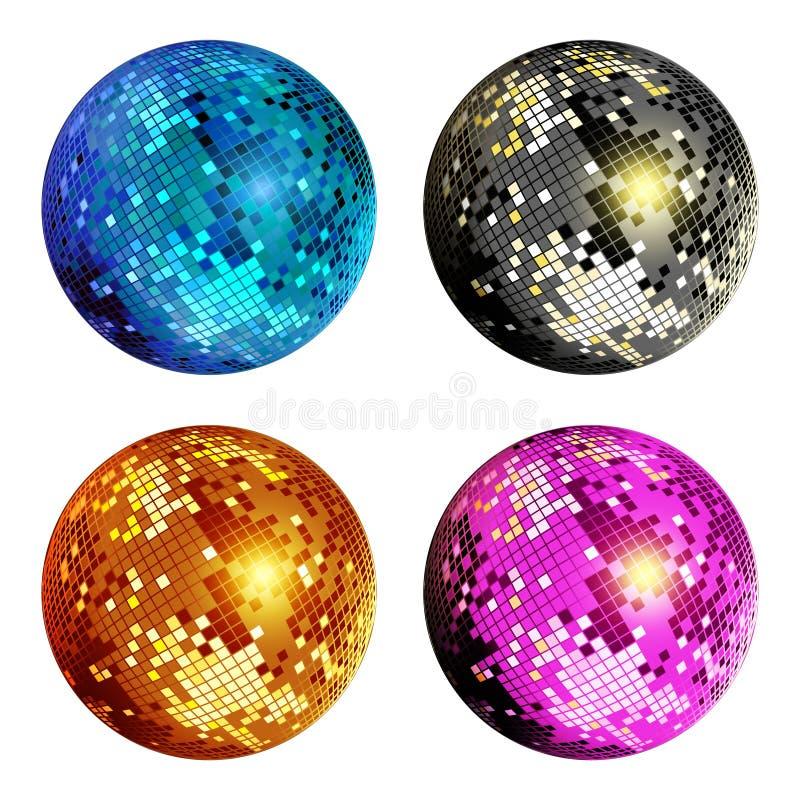 Σύνολο σφαιρών Disco διανυσματική απεικόνιση