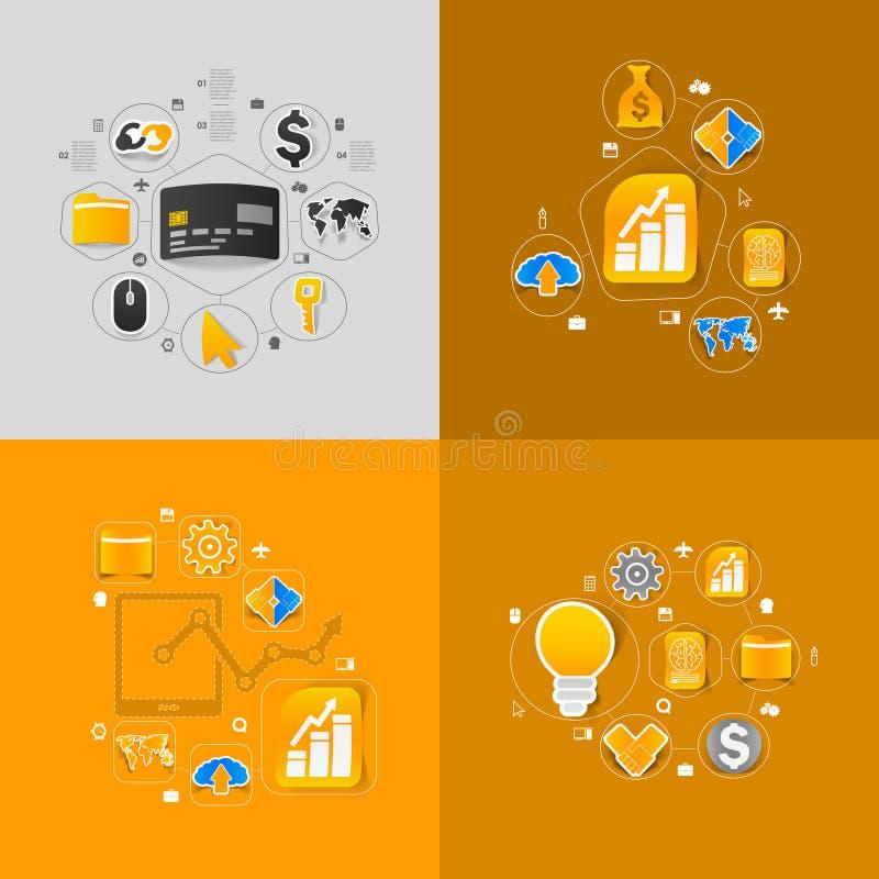 Σύνολο σχεδίου αυτοκόλλητων ετικεττών Επιχειρησιακή έννοια υψηλής τεχνολογίας διανυσματική απεικόνιση