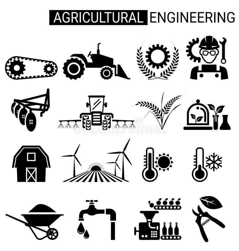 Σύνολο σχεδίου εικονιδίων γεωργικής εφαρμοσμένης μηχανικής για τη γεωργία ελεύθερη απεικόνιση δικαιώματος