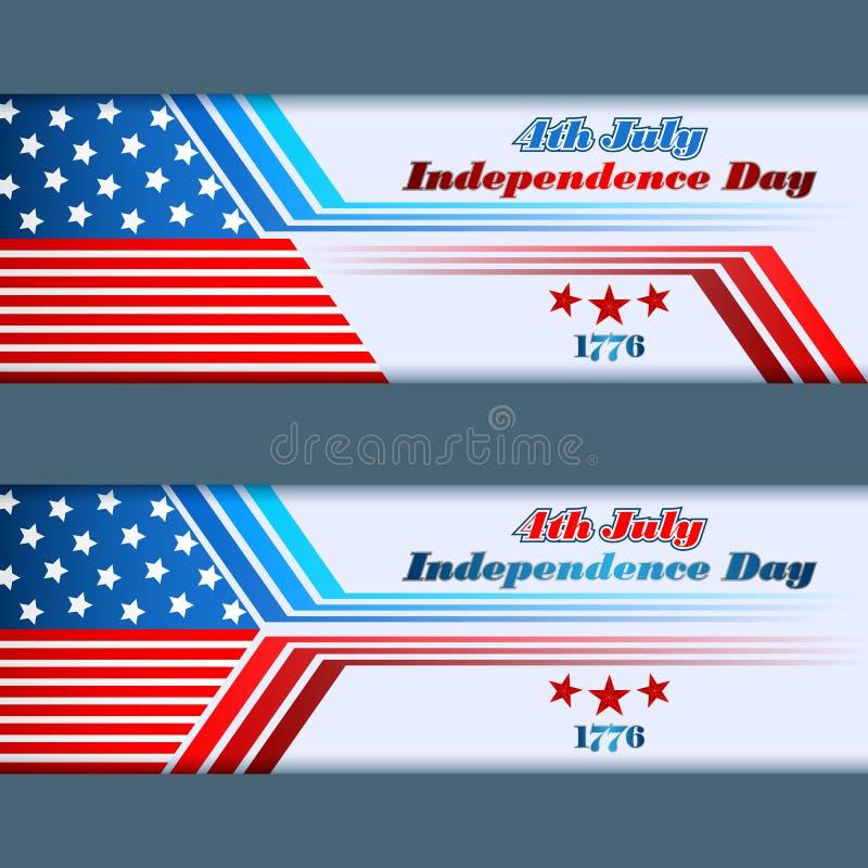 Σύνολο σχεδίου εμβλημάτων με τα αστέρια στη εθνική σημαία για το τέταρτο της ημέρα της ανεξαρτησίαςης Ιουλίου, αμερικανική ελεύθερη απεικόνιση δικαιώματος