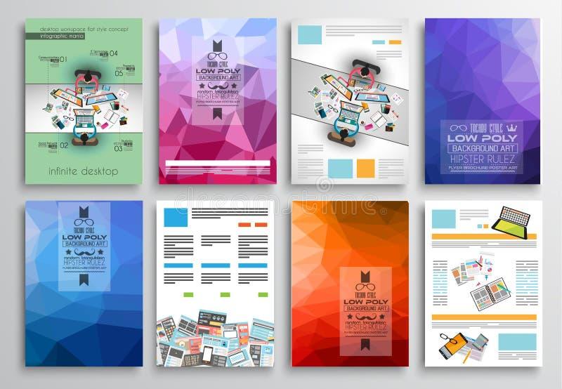 Σύνολο σχεδίου ιπτάμενων, πρότυπα Ιστού Σχέδια φυλλάδιων, υπόβαθρα τεχνολογίας διανυσματική απεικόνιση