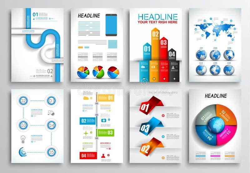 Σύνολο σχεδίου ιπτάμενων, πρότυπα Ιστού Σχέδια φυλλάδιων, υπόβαθρα Infographics απεικόνιση αποθεμάτων