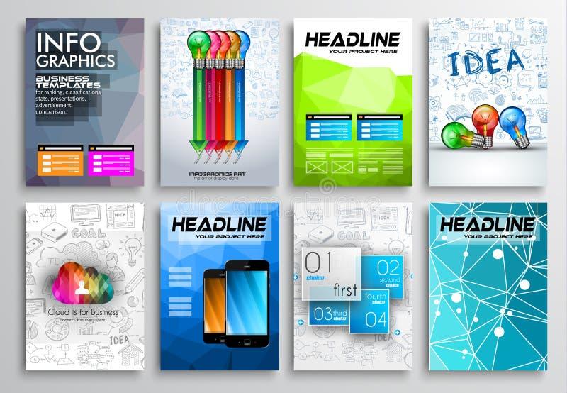Σύνολο σχεδίου ιπτάμενων, σχέδια φυλλάδιων Infographics διανυσματική απεικόνιση