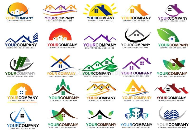 Σύνολο σχεδίου λογότυπων ακίνητων περιουσιών ελεύθερη απεικόνιση δικαιώματος