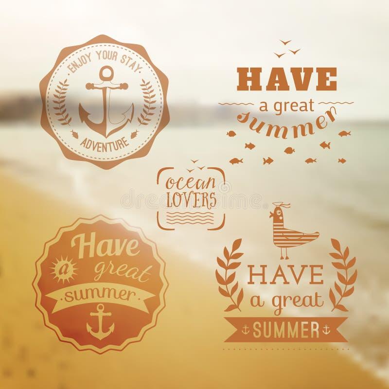 Σύνολο σχεδίου ταξιδιού λογότυπου θερινών διακοπών Ωκεάνια παραλία backfill ελεύθερη απεικόνιση δικαιώματος