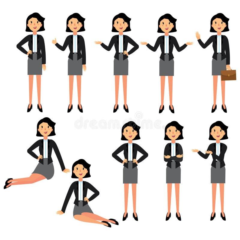 Σύνολο σχεδίου χαρακτήρα επιχειρηματιών Μια συλλογή της επιχειρηματία κινούμενων σχεδίων Μια συμπαθητική γυναίκα σε ένα επιχειρησ απεικόνιση αποθεμάτων