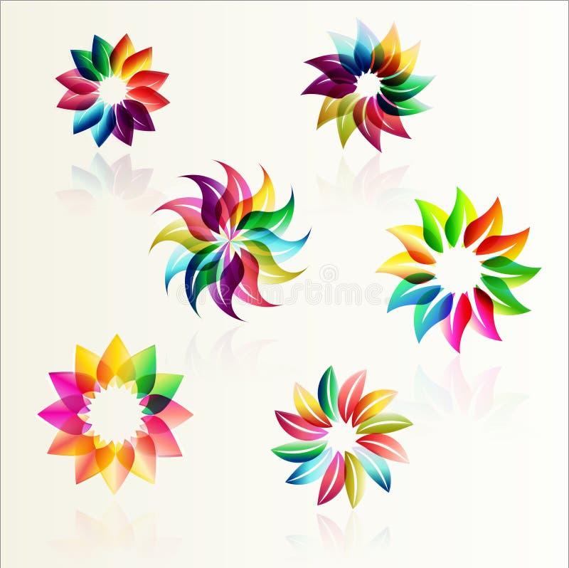 Σύνολο σχεδίων λουλουδιών διανυσματική απεικόνιση
