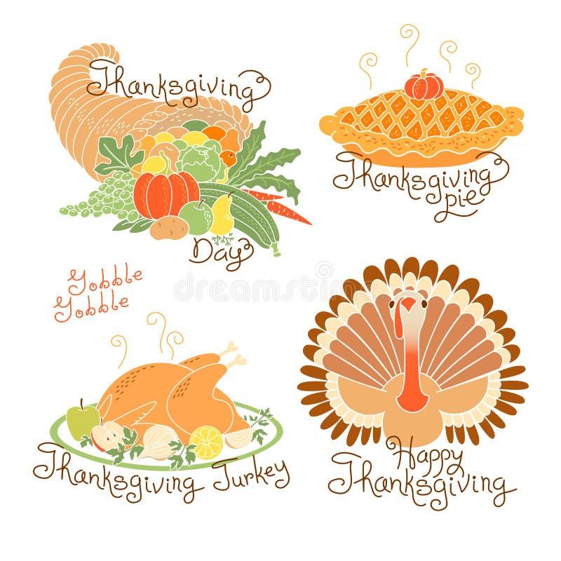 Σύνολο σχεδίων χρώματος στην ημέρα των ευχαριστιών Συγκομιδή φθινοπώρου, παραδοσιακό γεύμα διακοπών, Τουρκία, πίτα κολοκύθας, κέρ απεικόνιση αποθεμάτων