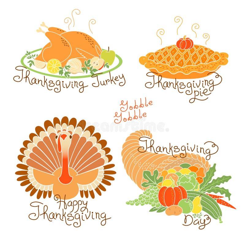 Σύνολο σχεδίων χρώματος στην ημέρα των ευχαριστιών Συγκομιδή φθινοπώρου, παραδοσιακό γεύμα διακοπών ελεύθερη απεικόνιση δικαιώματος