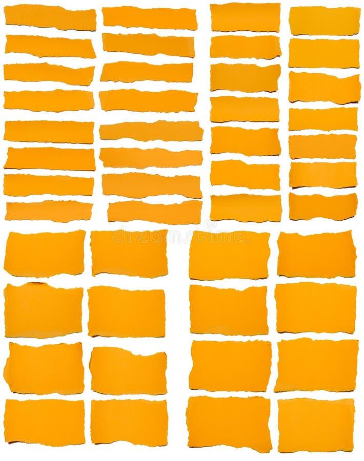 Σύνολο σχισμένου κίτρινου εγγράφου στοκ εικόνα