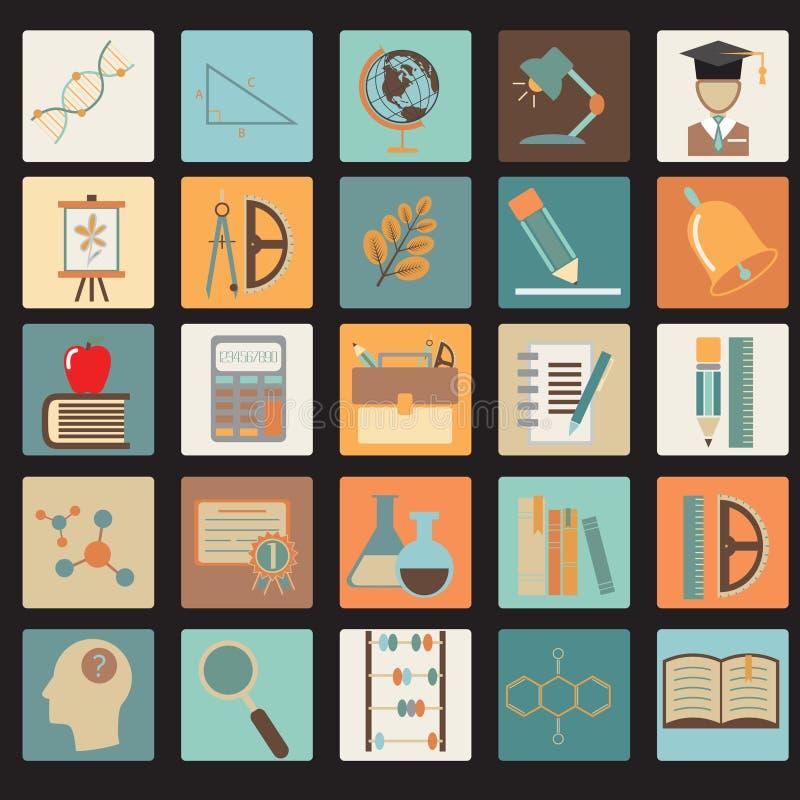 Σύνολο σχολικών επίπεδο εικονιδίων εκπαίδευσης ελεύθερη απεικόνιση δικαιώματος