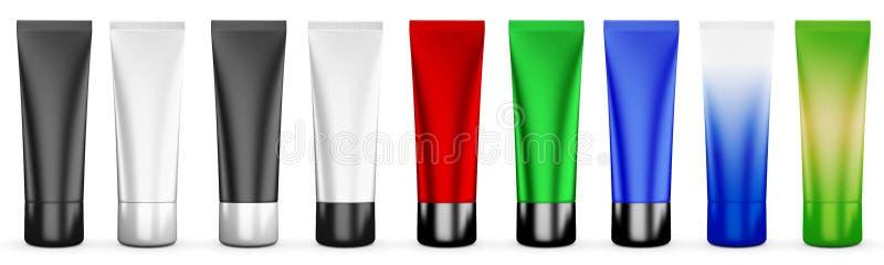 Σύνολο σωλήνων για την κρέμα των διαφορετικών χρωμάτων διανυσματική απεικόνιση