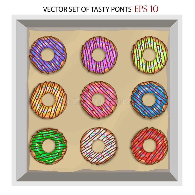 Σύνολο σύγχρονου επίπεδου juicy ζωηρόχρωμου διανύσματος ύφους donuts που απομονώνεται στο άσπρο υπόβαθρο στοκ φωτογραφία με δικαίωμα ελεύθερης χρήσης