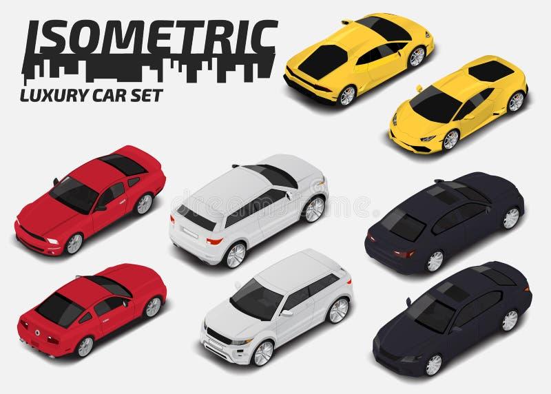 Σύνολο σύγχρονων αυτοκινήτων πολυτέλειας Διανυσματικός isometric υψηλός - σύνολο εικονιδίων μεταφορών ποιοτικών πόλεων διανυσματική απεικόνιση