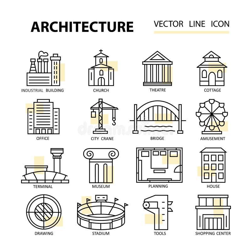 Σύνολο σύγχρονων γραμμικών εικονιδίων με τα στοιχεία αρχιτεκτονικής απεικόνιση αποθεμάτων