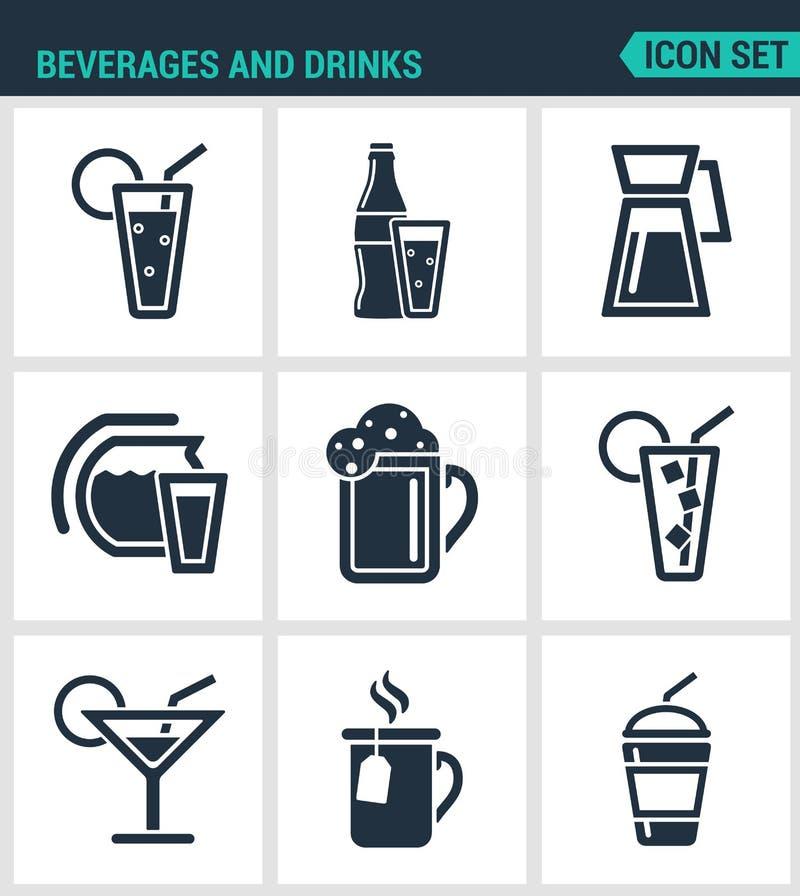 Σύνολο σύγχρονων εικονιδίων Τα ποτά και τα ποτά τινάζουν, martini, μπουκάλι, φραγμός, κοκτέιλ, οινόπνευμα, γυαλί, σόδα, ο Μαύρος  απεικόνιση αποθεμάτων