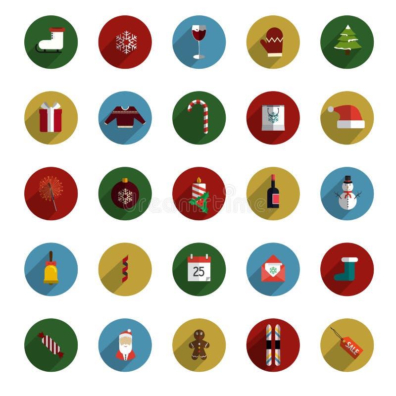 Σύνολο σύγχρονων εικονιδίων ύφους Χριστουγέννων επίπεδων απεικόνιση αποθεμάτων