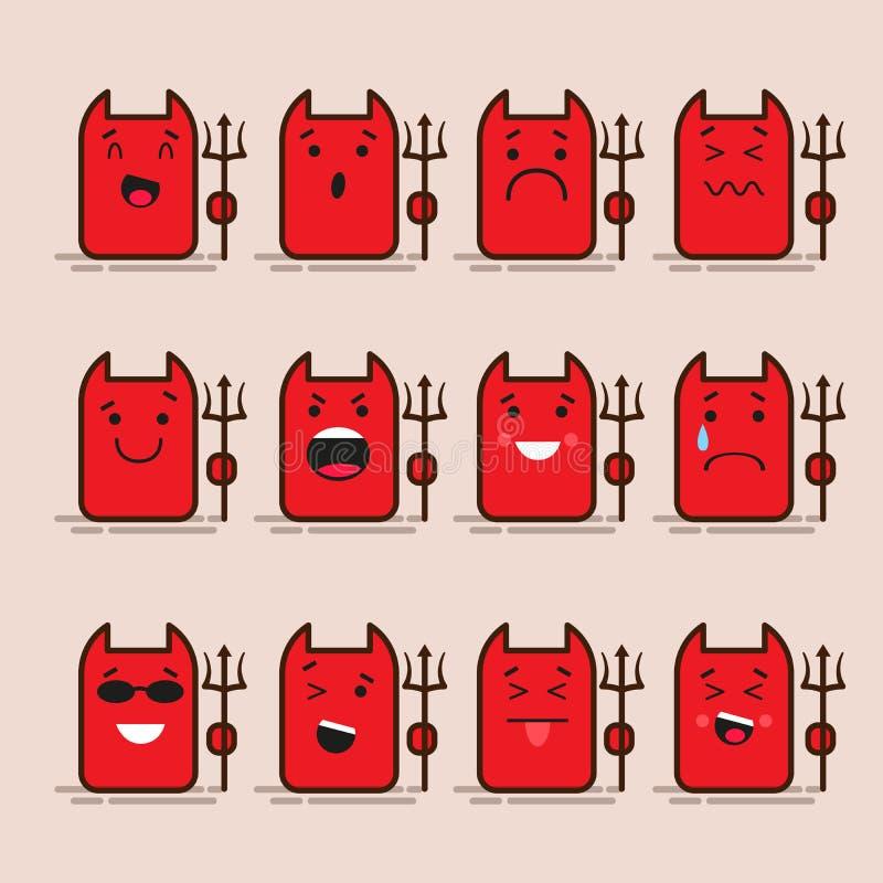 Σύνολο 12 σύγχρονων επίπεδων emoticons: διάβολος, τέρας, lucifer χαμόγελο, θλίψη και άλλες συγκινήσεις Απεικόνιση που απομονώνετα ελεύθερη απεικόνιση δικαιώματος
