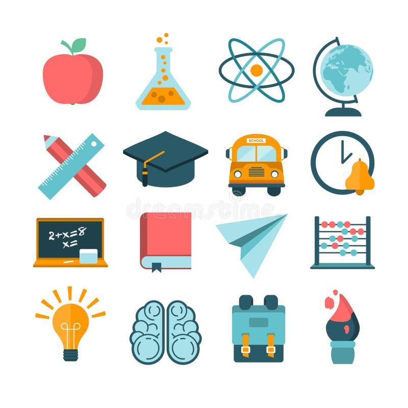Σύνολο σύγχρονων διανυσματικών σχολικών εικονιδίων ελεύθερη απεικόνιση δικαιώματος