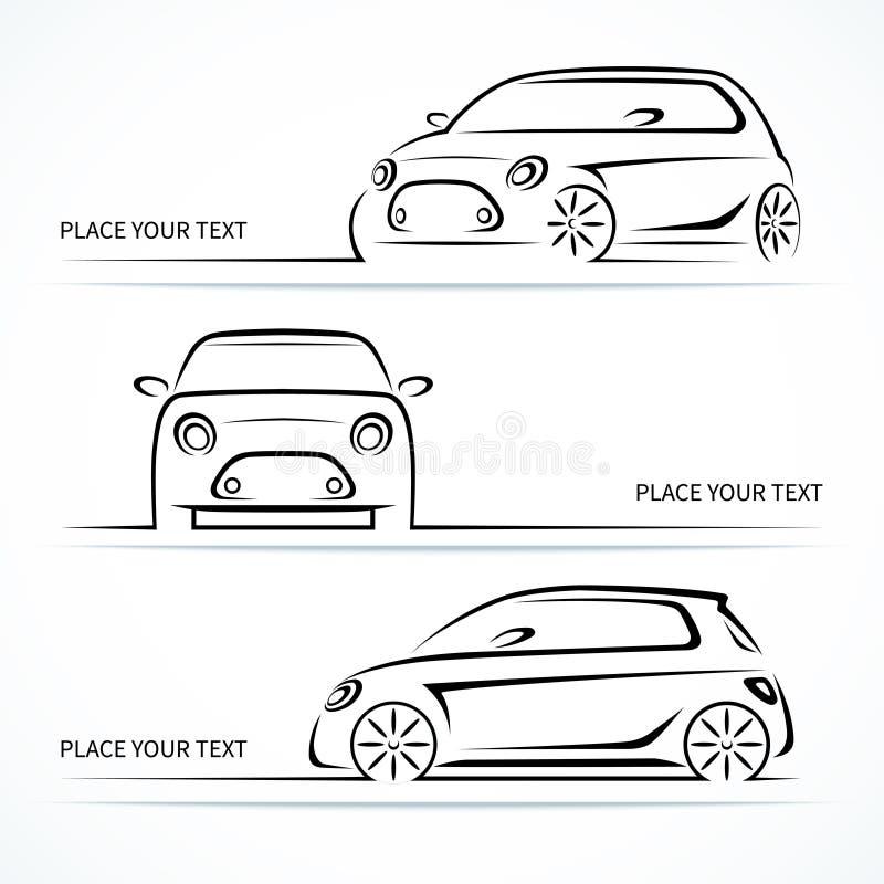 Σύνολο σύγχρονων συμπαγών σκιαγραφιών αυτοκινήτων διανυσματική απεικόνιση