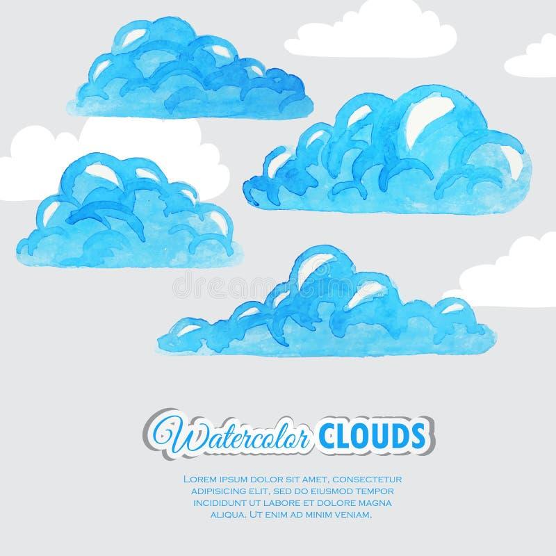 Σύνολο σύννεφων watercolor καιρός ήλιων βροχής εικονιδίων σύννεφων διανυσματική απεικόνιση
