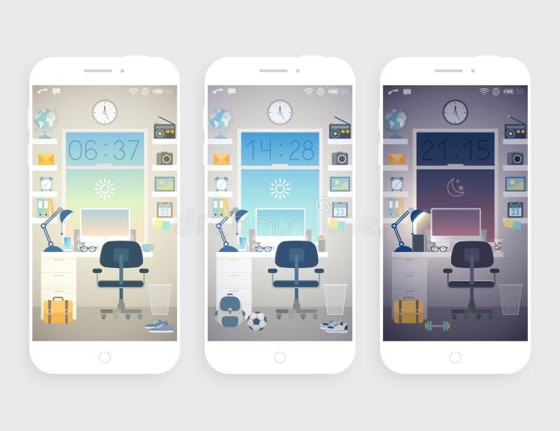 Σύνολο ταπετσαριών για το κινητό τηλέφωνο ελεύθερη απεικόνιση δικαιώματος