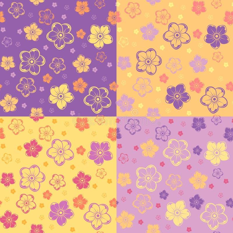 Σύνολο τεσσάρων άνευ ραφής σχεδίων με τα λουλούδια. διανυσματική απεικόνιση