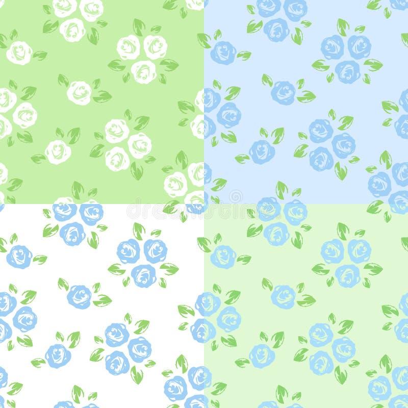 Σύνολο τεσσάρων άνευ ραφής σχεδίων με τα τριαντάφυλλα. απεικόνιση αποθεμάτων