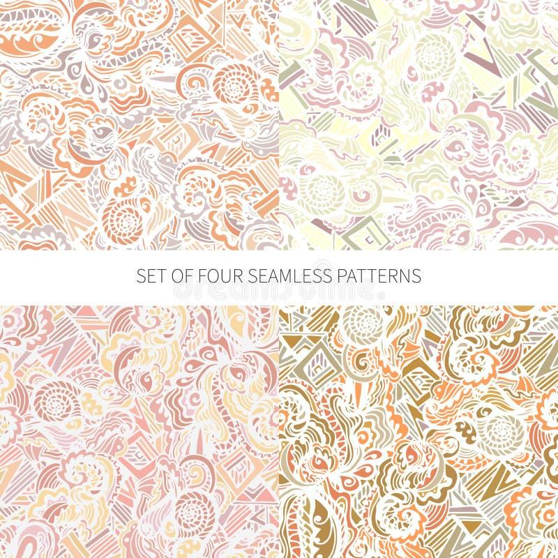 Σύνολο τεσσάρων αφηρημένων άνευ ραφής σχεδίων απεικόνιση αποθεμάτων