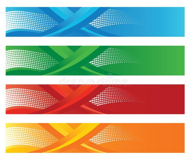 Σύνολο τεσσάρων εποχιακών ημίτοών ψηφιακών εμβλημάτων ελεύθερη απεικόνιση δικαιώματος