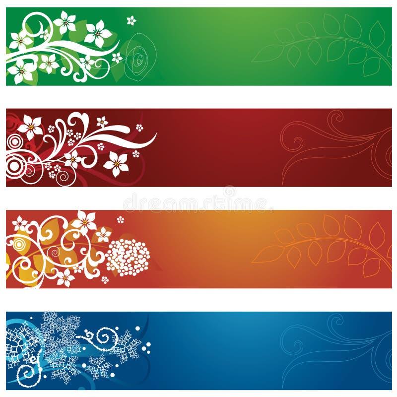 Σύνολο τεσσάρων εποχιακών λουλουδιών και snowflakes εμβλημάτων διανυσματική απεικόνιση