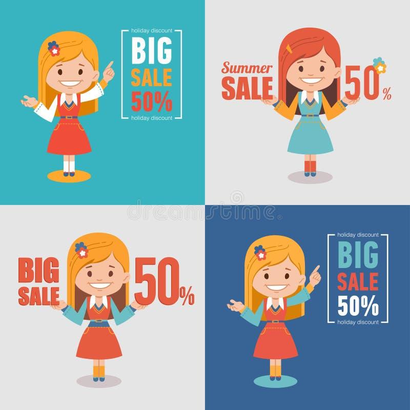 Σύνολο τεσσάρων ετικετών αγορών διαφήμισης Θερινή πώληση, μεγάλη πώληση 50 τοις εκατό Εποχιακές εκπτώσεις εμβλημάτων με το κορίτσ απεικόνιση αποθεμάτων