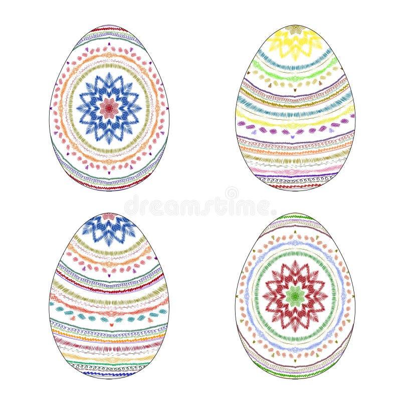 Σύνολο τεσσάρων ζωηρόχρωμων ζωγραφισμένων στο χέρι αυγών Πάσχας με την εθνική ομιλία απεικόνιση αποθεμάτων