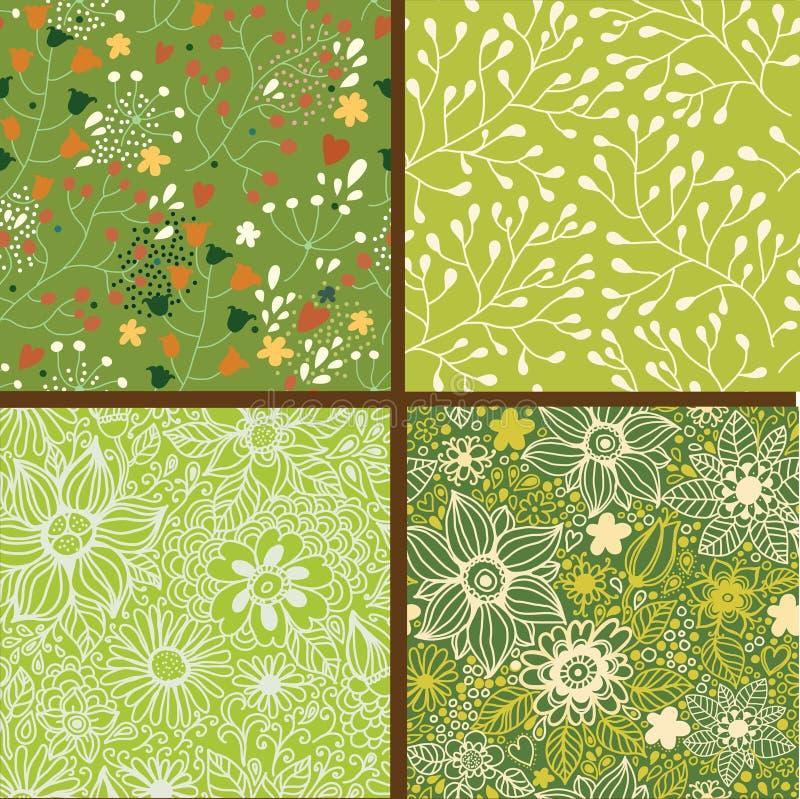 Σύνολο τεσσάρων ζωηρόχρωμων floral σχεδίων. διανυσματική απεικόνιση