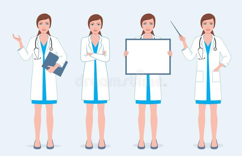 Σύνολο τεσσάρων θηλυκών γιατρών ελεύθερη απεικόνιση δικαιώματος