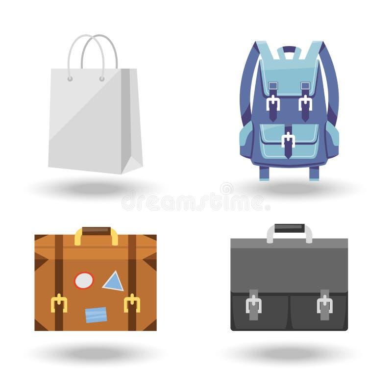 Σύνολο τεσσάρων διανυσματικών απεικονίσεων αποσκευών απεικόνιση αποθεμάτων