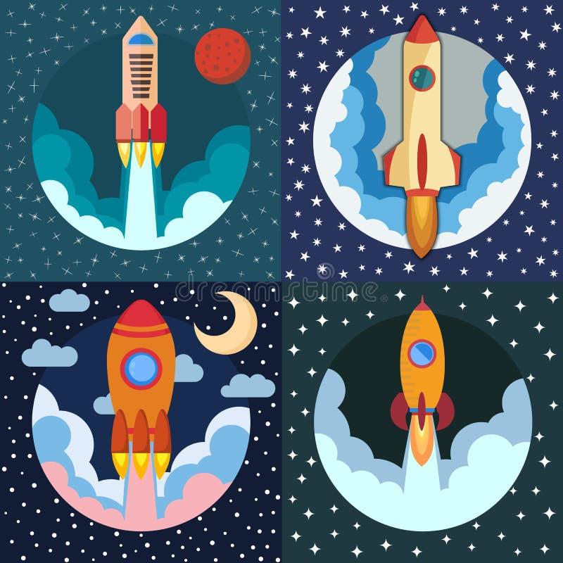 Σύνολο τεσσάρων διαστημικών σκαφών πυραύλων Διαστημική έναρξη πυραύλων διανυσματική απεικόνιση