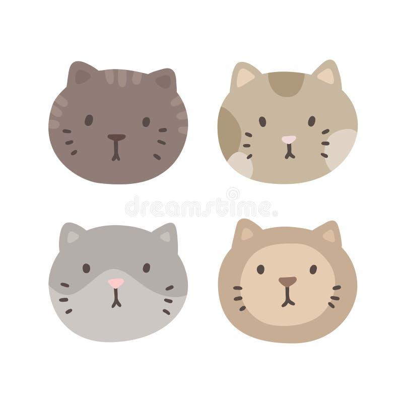 Σύνολο τεσσάρων προσώπων γατών διανυσματική απεικόνιση