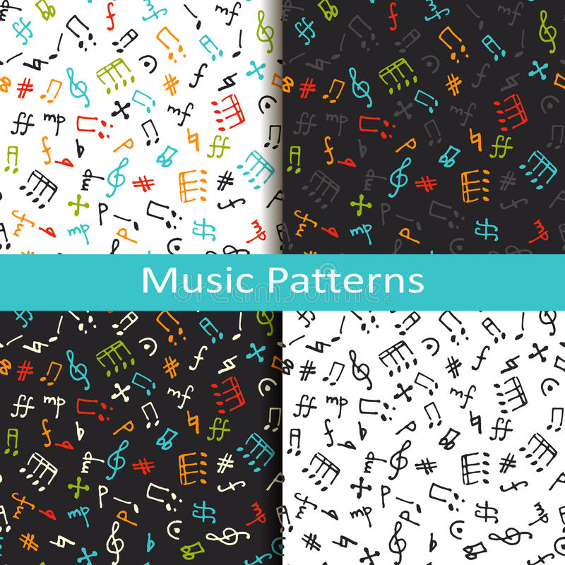Σύνολο τεσσάρων σχεδίων μουσικής με τα διαφορετικά μουσικά σύμβολα διανυσματική απεικόνιση