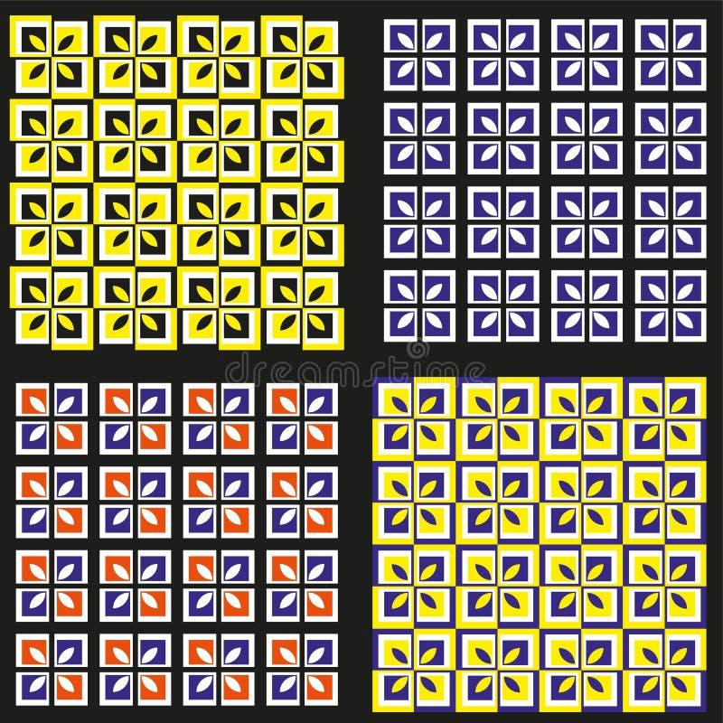 Σύνολο τεσσάρων χρωματισμένων σχεδίων διανυσματική απεικόνιση