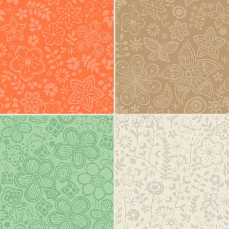 Σύνολο τεσσάρων floral σχεδίων (χωρίς ραφή να κεραμώσει) Άνευ ραφής ομιλία ελεύθερη απεικόνιση δικαιώματος