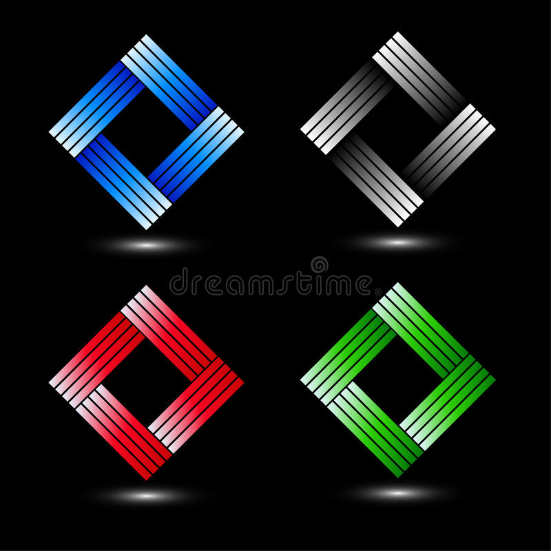 Σύνολο τετραγωνικών εταιρικών λογότυπων ελεύθερη απεικόνιση δικαιώματος