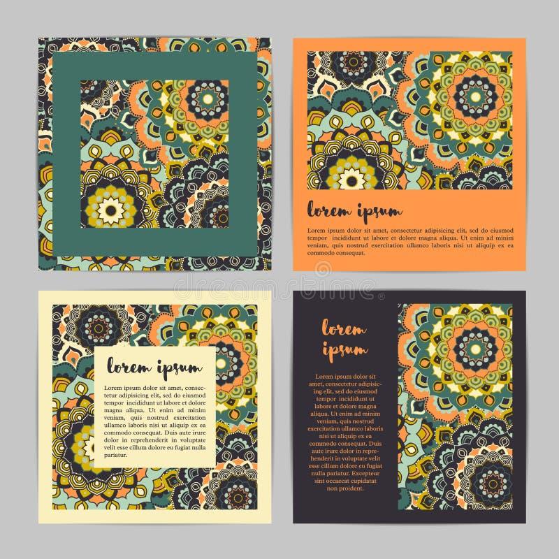 Σύνολο τετραγωνικών καρτών προτύπων με συρμένο το χέρι mandala λουλουδιών Styl ελεύθερη απεικόνιση δικαιώματος