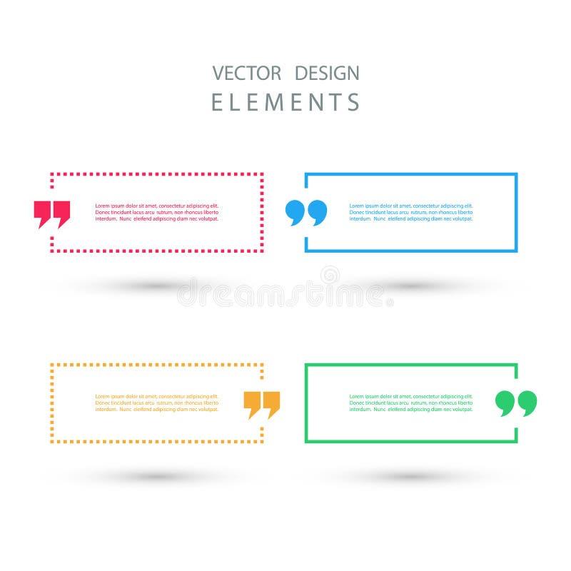 Σύνολο τετραγωνικών φυσαλίδων κειμένων αποσπάσματος χρώματος απεικόνιση αποθεμάτων