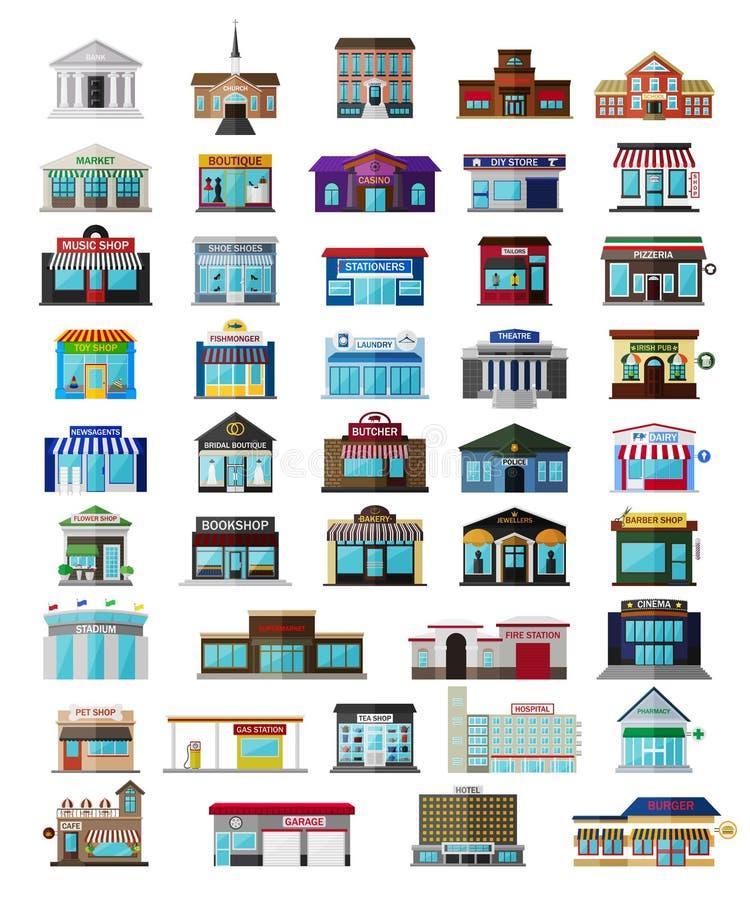 Σύνολο της επίπεδης πόλης buildingss και καταστημάτων απεικόνιση αποθεμάτων