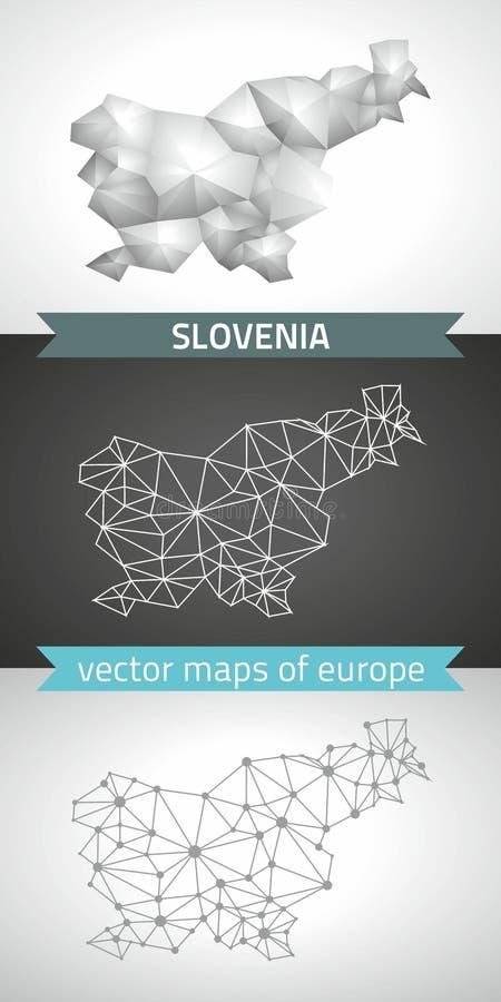 Σύνολο της Σλοβενίας γκρίζων και ασημένιων τρισδιάστατων polygonal χαρτών μωσαϊκών διανυσματική απεικόνιση