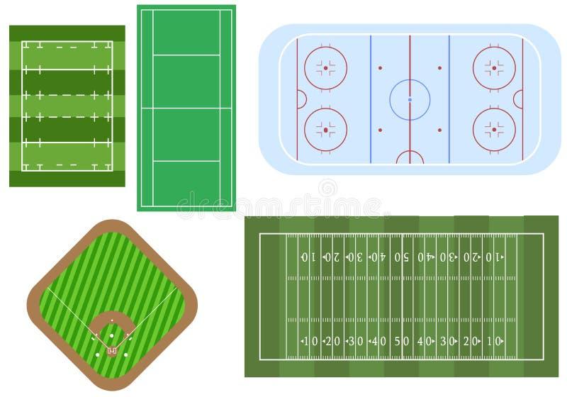 Σύνολο τομέων αθλητικών παιχνιδιών, για τη τοπ άποψη Ποδόσφαιρο και ragby τομείς, παιδική χαρά χόκεϋ, στάδιο μπέιζ-μπώλ και tenni διανυσματική απεικόνιση
