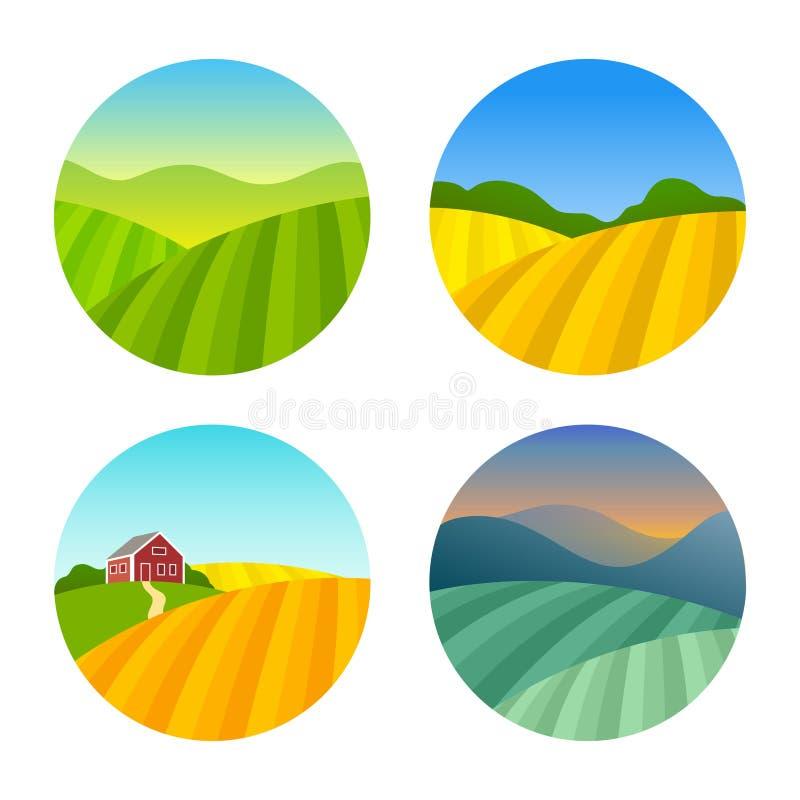 Σύνολο τοπίων αγροτικών τομέων διανυσματική απεικόνιση