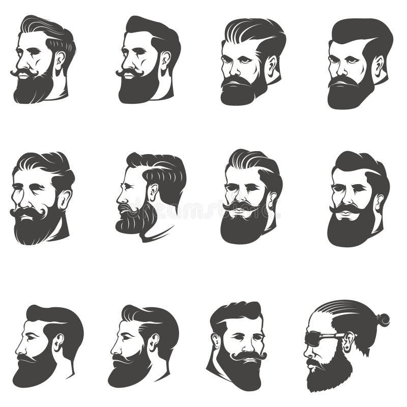 Σύνολο του γενειοφόρου κεφαλιού ατόμων που απομονώνεται στο άσπρο υπόβαθρο εικόνες διανυσματική απεικόνιση